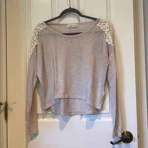 Abercrombie and Fitch gray sweatshirt with lace. M